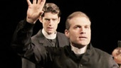 Drew Gehling as Lexy, Marc Kudisch as Reverend James Morell and Liz Baltes as Prossy in The Minister's Wife.