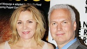 Kim Cattrall is accompanied by MoMA curator Klaus Biesenbach.