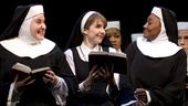 Sarah Bolt as Sister Mary Patrick, Marla Mindelle as Sister Mary Robert and Patina Miller as Deloris Van Cartier in Sister Act.