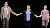 Stephen Kunken, Kathleen Turner and Evan Jonigkeit join hands as the curtain comes down on High's opening night. 