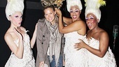 The Priscilla Divas (Ashley Spencer, Jacqueline B. Arnold and Anastacia McCleskey) help model Bar Refaeli try on one of the musical's glamorous head pieces.