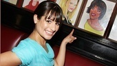 Everything's coming up Glee! Lea Michele goes face to face with Patti LuPone's portrait.