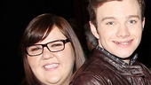 We hardly ever see Ashley Fink smile on Glee, but a Broadway night out with Chris Colfer does the trick.