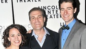 The minister and his loyal underlings: Liz Baltes, Marc Kudisch and Drew Gehling are all smiles on opening night.