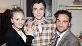 So this is what Penny, Sheldon and Leonard do on their summer vacation!  Jim Parsons gets a hug from his Big Bang Theory co-stars Kaley Cuoco and Johnny Galecki.