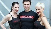 Roxie (Melissa Rae Mahon) and Velma (Amra-Faye Wright) sandwich their Billy Flynn (Brent Barrett).