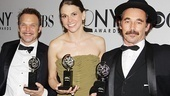 Best Actor in a Musical Norbert Leo Butz (Catch Me If You Can), Best Actress in a Musical Sutton Foster (Anything Goes) and Best Actor in a Play Mark Rylance (Jerusalem) show off their Tonys. Not pictured in the traditional group photo: Best Actress in a Play winner Frances McDormand.