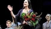Brooke Shields receives a congratulatory bouquet.