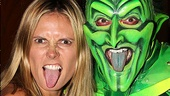 Tongues out! Heidi Klum channels her inner villain alongside Spider-Man bad guy Patrick Page. Think this look would fly on the runway?