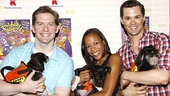 The Book of Mormon trio Rory O&#39;Malley, Nikki M. James and Andrew Rannells say &quot;Hello&quot; to some canine cohorts. 