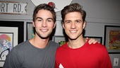 Gossip Girl star Chace Crawford is greeted by his TV cousin, also known as Catch Me If You Can leading man Aaron Tveit.