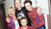 Mark Hoppus enjoys an exciting family night at the theater with his wife Skye and son Jack, who were eager to snap a photo with Spidey alternate Matthew James Thomas. 