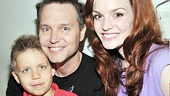 Mark Hoppus and son Jack say hello to Spider-Man's girl-next-door Jennifer Damiano. 
