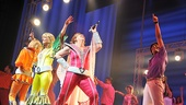 Mamma Mia!s sweet celebration begins at the curtain call dance party featuring Lisa Brescia as Donna Sheridan. 