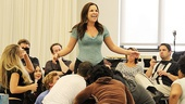 The Godspell cast readies to lift their co-star Lindsay Mendez up to the heavens in