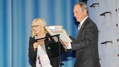 "Producer Judy Craymer is delighted to receive a framed ""Mamma Mia! Day"" proclamation from Mayor Michael Bloomberg."