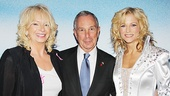 NYC Mayor Michael Bloomberg is on hand for a pre-performance presentation to Mamma Mia! producer Judy Craymer and star Lisa Brescia.