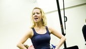 Ready? OK! Patti Murin, who plays peppy cheerleader Lysistrata Jones, is eager to start the day.