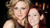 Nina Arianda gets an opening night hug from Broadway alum and True Blood star Carrie Preston. 