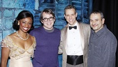 Matthew Broderick congratulates Memphis stars Montego Glover and Adam Pascal and the show's Tony-winning librettist, Joe DiPietro.