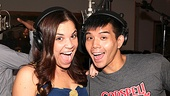 Lindsay Mendez and Telly Leung are all smiles as they work on the brand new Godspell cast recording.