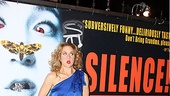 Silence! leading lady goes cross-eyed to mimic Silence of the Lamb's iconic poster.