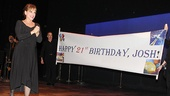 At the close of the performance, Patti LuPone unveils a special birthday banner for her son, Joshua Johnston.