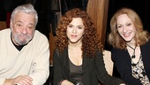 Stephen Sondheim takes his place next to Follies' leading ladies Bernadette Peters and Jan Maxwell as they greet fans.