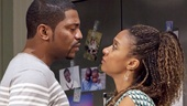 Mekhi Phifer as Flip and Tracie Thoms as Taylor in Stick Fly.
