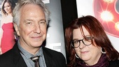 Alan Rickman strikes a pose with Theresa Rebeck—he's currently starring in Seminar, her latest Broadway play.