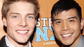 Godspell co-stars Hunter Parrish and Telly Leung check out Broadway&#39;s newest musical on their night off.