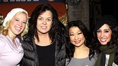 Rosie ODonnell cheered for the ladies of Lysistrata Jones, Patti Murin, Katie Boren and Kat Nejat, who play college cheerleaders on stage. 