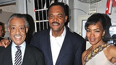 "Let them eat cake! Samuel L. Jackson shares his yummy ""NY Loves SLJ"" cake with Reverend Al Sharpton and Angela Bassett. Cheers!"