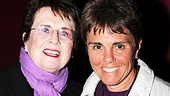 Billie Jean King shares a smile with her partner, Ilana Kloss, backstage at Priscilla Queen of the Desert.