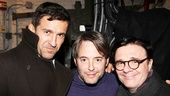 Celebrity guests Jonathan Cake, Matthew Broderick and Nathan Lane pose backstage at the Booth Theatre.
