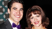 Criss puts his arm around Rose Hemingway, his onstage love interest.