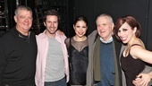 John Kander's partner Albert Stephenson (l.) is happily reunited with his former acting student Marco Zunino (Billy Flynn), as Merry Murderesses Bianca Marroquin and Donna Marie Asbury flank the composer.