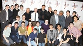 The cast and creative team of Broadways Newsies gather for a group photo.