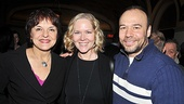 Priscilla Lopez greets Broadway spouses Rebecca Luker and Danny Burstein, the latter a vet of the 1994 York Theatre revival of Merrily.