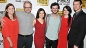 The cast of Tribes looks red hot on opening night: Mare Winningham, Jeff Perry, Susan Pourfar, Will Brill, Gayle Rankin and Russell Harvard. See Tribes at the Barrow Street Theatre!
