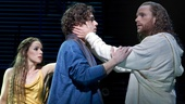 Chilina Kennedy as Mary Magdalene, Josh Young as Judas and Paul Nolan as Jesus in Jesus Christ Superstar.