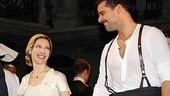 Elena Roger beams at co-star Ricky Martin as they lead the company curtain call.