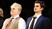 Onstage father and son Philip Seymour Hoffman and Andrew Garfield face their opening night crowd at the curtain call.