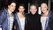 Jean Paul Gaultier congratulates stylish Priscilla stars Will Swenson, Nick Adams and Tony Sheldon.