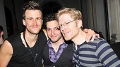 Post-show, Gavin Creel is congratulated by Rent star Anthony Rapp (r.) and Rapp's boyfriend, Michael Quadrino.