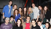 Jonathan Groff, a vet of MCC's The Submission, poses backstage at the Lucille Lortel with the cast of Carrie.