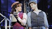 Kara Lindsay as Katherine Plumber and Jeremy Jordan as Jack Kelly in Newsies.