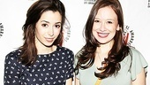 Aren't they lovely? Outstanding Lead Actress nominees Cristin Milioti (Once) and Molly Ranson (Carrie) pose together. Congrats to all the Lortel Award honorees!