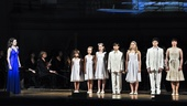 Von Trapp kids Charlotte Knutsen, Natalie Hawkins, Grace Luckett, Jacob Sutton, Olivia Knutsen, Jake Montagnino and Mary Michael Patterson line up to greet their new governess.