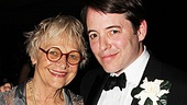 Estelle Parsons and Matthew Broderick, who play mother and son in Nice Work, pose with Broderick's real-life son, James Wilkie.